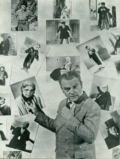 James Cagney in front of pictures of himself as some of the 22 different Lon Chaney characters he recreated in Man of a Thousand Faces. Hollywood Men, Hooray For Hollywood, Classic Hollywood, Scottsboro Boys, Yankee Doodle Dandy, James Cagney, Lon Chaney, All Movies, Irish Men