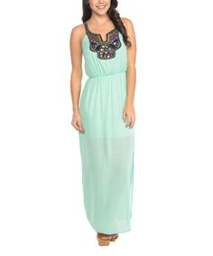 Look what I found on #zulily! Mint Embroidered Sheer-Overlay Maxi Dress #zulilyfinds