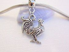 Silver Tone Chicken Rooster Slider Clip on Add on Dangle Charm fit Euro Bracelet