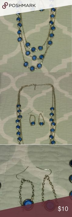 Blue & Silver Long Multi-Layer Necklace Beautiful necklace and earring set just in time for summer. NEVER WORN. Charming Charlie Jewelry Necklaces