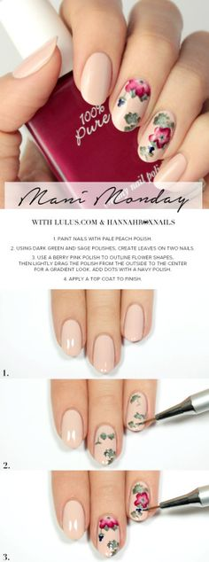 Mani Monday: Peach Floral Print Nail Tutorial