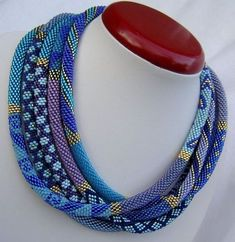 Love the colors even thought it isn't Kumihimo. Toho beads whole number Used for more than 30 shades of blue, blue and violet. For finishing 2 gold - and Length 223 cm Bead Crochet Patterns, Bead Crochet Rope, Crochet Bracelet, Beaded Crochet, Beaded Jewelry, Handmade Jewelry, Beaded Necklace, Beaded Bracelets, Jewelry