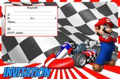 Carte invitation anniversaire Mario Kart gratuite à imprimer. Le jeu vidéo Mario…