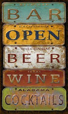 Bar Open license plate art (Jean Plout)