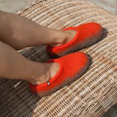 House shoes by Wooppers - Orange - TOPS collection Getting in Sping mood. Felted Wool Slippers, Bedroom Orange, Orange Tops, Sheep Wool, Womens Slippers, Wool Felt, Just For You, Mood, House