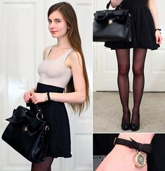 Udobuy Elegant Black Bag With Bow, H&M Beige Top, H&M Black Highwaisted Skirt, Black Dot Tights, Accessorize Black Watch, Embis Black Leather Pumpss