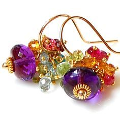 Amethyst Earrings with Multi-Gemstone Accents – Amy Holton Designs