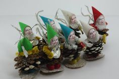 Vintage Elf Pixie Gnome Christmas Ornament Band Musical Instruments Pine Cone…