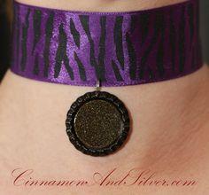 Black and Purple Zebra Ribbon Choker Necklace with Sparkly Black Bottle Cap Pendant, Choker, Mirror Necklace, Purple Ribbon Necklace by CinnamonandSilver on Etsy