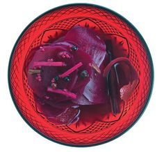 Spiced pickled beets with a little kick from fermentation - beautiful on a holiday table.