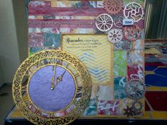 Time frame - using Alisa Burke's Canvas Remix ideas and Leaky Shed Studio's clock and gears chipboard pieces embossed in metallic colors - by Carla Bange