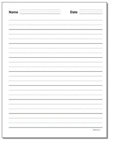 3-line primary handwriting practice paper. Try these free printable writing practice paper templates with name and date at the top when you have primary grade homework or classroom activities and your students need to turn-in their work. These and other printable PDF writing paper ready to print on the site! Letter B Worksheets, Handwriting Practice Worksheets, Cursive Writing Worksheets, Sight Word Worksheets, Printable Math Worksheets, Free Printable, Writing Topics, Kindergarten Worksheets, Essay Writing