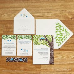Wedding Invitation - Tree Initials and 2 love birds - available as DIY PDF Printable via Etsy