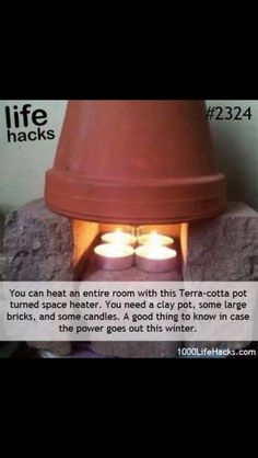 DIY Life Hacks & Crafts : Need a heater? Try this neat life hack! Great idea for… DIY Life Hacks & Crafts : Need a heater? Try this neat life hack! Great idea for camping to warm up a tent… – DIY Loop Survival Tips, Homestead Survival, Survival Skills, Survival Quotes, Survival Life Hacks, Camping Survival, Zombies Survival, Winter Survival, Survival Mode