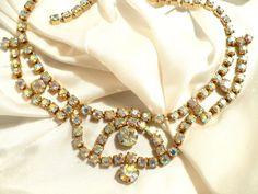 Gorgeous Vintage Aurora Borealis (AB) Rhinestone Necklace  by MarlosMarvelousFinds