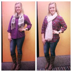 It's Trending Tuesday and the chilly weather is on its way!!! Time to snuggle up but still look adorable in a Flannel shirt and coordinating scarf!! Love this look with the perfect fit jeans and sassy boots!  Plato's Closet GreenvilleNC