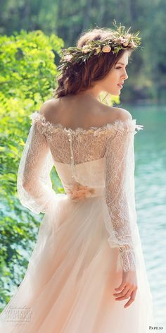 papilio 2017 bridal long sleeves off the shoulder sweetheart neckline heavily embellished bodice peach color romantic a  line wedding dress chapel train (cockatiel) zbv -- Papilio 2017 Wedding Dresses