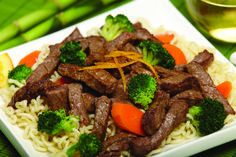 Beef and Broccoli with Noodles - This recipe takes ramen noodles to a whole new level.  Adding broccoli and carrots make it a colorful and healthy one dish meal. Ingredients:   1 ¼ pounds Creekstone Farms Black Angus boneless top round steak, cut 1 inch thick  2 packages (3 ounces each) beef flavored instant ramen noodles, broken up  1 ½ teaspoons cornstarch dissolved in ½ cup water  2 table...