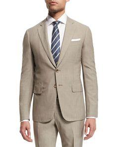 Isaia Narrow-Stripe Two-Piece Wool Suit, Khaki