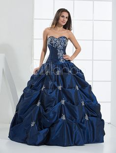 Royal Blue Ball Gown Sweetheart Beaded Taffeta Prom Dress