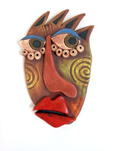 """Picasso inspired stoneware wall mask called """"A sneak Peek"""" $58-sold   #ceramicmask  #stonewaremask  #abstract"""