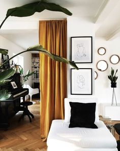 6 Reasons why Yellow should be a frequently used home deco color - Daily Dream Decor Curtain Room, Room Divider Curtain, Mustard Yellow Curtains, Sala Grande, House Ideas, Dining Room Inspiration, Blind, Furniture Sale, Bedroom Furniture
