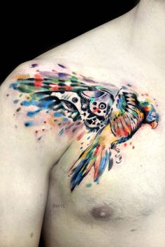 watercolour tattoo bird tattoo chest tattoo tattoo london