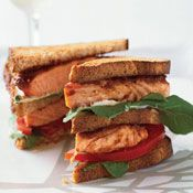Salmon Club Sandwiches, Recipe from Cooking.com  Yummmmm...Chop will love this!