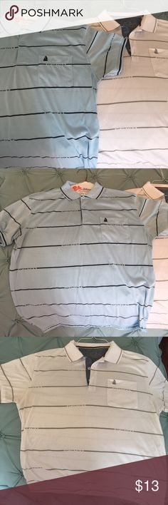 Bundle 2 Men's Shirts 2 Casual Shirts. My husband purchased them in Israel while vacationing so the tags are in Hebrew. He doesn't like the way they fit him. In almost new condition. Both size Large. White with grey and Light Blue with Navy. Denim details on collar. Shirts