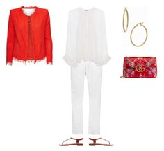 """RED AND WHITE"" by blackstergeneration on Polyvore featuring Acne Studios, Zadig & Voltaire, Balenciaga, Bony Levy and Gucci"