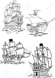 Cuatro tipos de veleros antiguos. Ilustraciones Vectoriales.