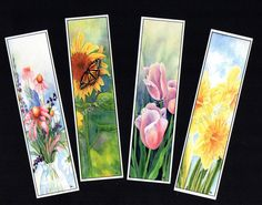 These beautiful bookmarks are prints of a portions of one my original watercolor paintings. Individual Bookmarks $2.00 Each. Set of 4 Bookmarks $7.50 (one of each design) Each Bookmark measures 1.5W x 6 L. Printed with a photo printer on high-quality, acid-free card-stock. They are laminated for strength and preservation. They are perfect to enclose in a gift or tuck in a card to let them know you are thinking about them! Match the bookmark with a package of matching note cards to complete…