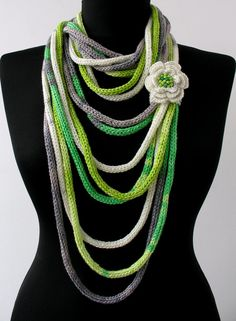 30% OFF SALE - Knit Scarf Necklace - loop scarf -infinity scarf -knit scarflette -with crocheted flower brouch-in white,green,gray (WAS 37). $26,00, via Etsy.