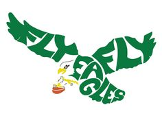 """Design of the vintage Philadelphia Eagles logo made from the first line of the fight song """"Fly Eagles Fly"""""""