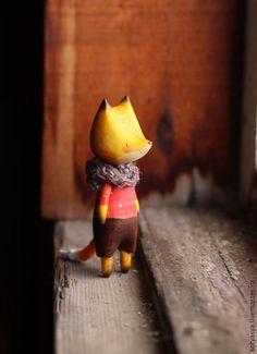 Игрушки животные, ручной работы. деревянная игрушка Лисёнок. Ася Катечкина. Ярмарка Мастеров. Миниатюра, деревянный, акварель