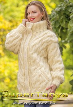 Boutique ivory hand knitted mohair cardigan, fuzzy cable knit coat by SuperTanya Bourique ivory hand knitted mohair cardigan fuzzy by supertanya Always wanted to be able to knit, however undecided the . Knitted Coat, Mohair Sweater, Turtleneck, Knit Cardigan Pattern, Cable Cardigan, Icelandic Sweaters, Coat Patterns, Knitting Patterns, Lightweight Cardigan