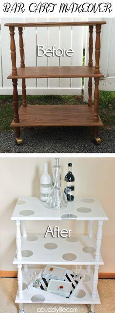 Bar Cart Before & After W/ Polka Dot DIY! (using Martha's circle cutter!) #CheckOutMyCraftMartha