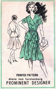 Prominent Designer A672 Award Winning Wrap Top & Skirt 1970's  - Designer Diane Von Furstenberg