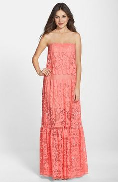 Free shipping and returns on BCBGMAXAZRIA 'Melannie' Burnout Cotton Blend A-Line Gown at Nordstrom.com. Patterned, mostly sheer mesh flows through this statuesque strapless dress only partly lined to achieve a subtly leggy look.