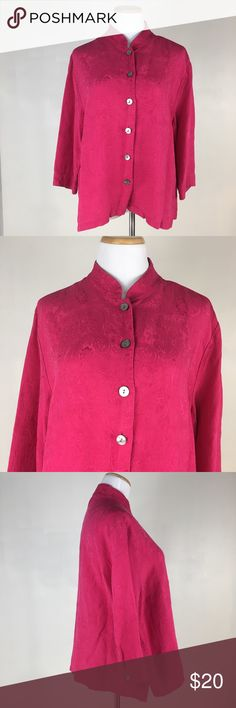 Chico's size 2 silk blend front button shirt pink This is a size 2 mandarin collar front button down Brocade blouse by Chico's. Hot pink color. Great shape and in excellent condition. Please see pictures for fabric content and measurements. Chico's Tops Button Down Shirts