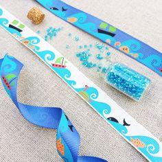 Ocean Wave Print Grosgrain Ribbon - Blue / 4