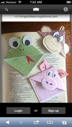 Cute bookmarks...putting this in my reading board...so cute.