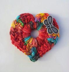 Crochet Heart Pendant (with butterfly button) ~ designed & handmade by Elvira Jane