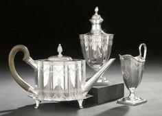 Tiffany & Co. Four-Piece Sterling Silver Paul Revere Replica Tea Set