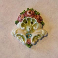 Porcelain Shell Scroll porcelain button