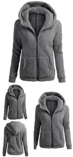 1c82d939467 New Women s Winter Lambswool Zipper Outwear Hoodies Plus Size Ladies  Pullover Warm Hooded Sweatshirt  sweatshirt
