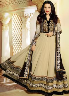 Celina Jaitley Cream Georgette Abaya Style Salwar Kameez Online Shopping : 507SL03