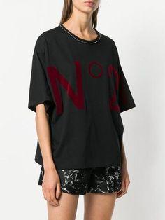Beaded flocked-logo t-shirt - Farfetch N21, Flocking, Beaded Embroidery, Half Sleeves, Crew Neck, Logos, Mens Tops, Cotton, T Shirt