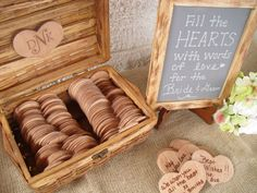 What a fantastic guest book for a wedding! Have your guests write their well wishes onto hearts carved out of wood and place in a beautiful wicker case. Just darling! A great alternative to the traditional wedding guestbook Wedding Prep, Wedding Sets, Our Wedding, Wedding Planning, Dream Wedding, Wedding Reception, Wedding Stuff, Envelopes, Rustic Wedding Guest Book