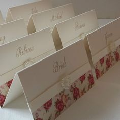 VINTAGE PEONIES PERSONALISED PEARL HEART WEDDING RECEPTION NAME PLACE CARDS